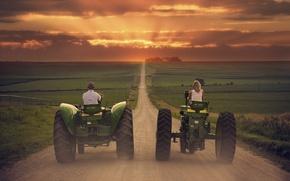 Картинка дорога, путь, поля, трактора