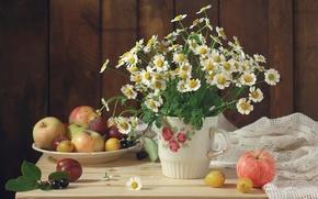 Обои цветы, flowers, букет, натюрморт, bouquet, фрукты, still life, яблоки