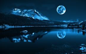 Обои отражение, снег, горы, природа, море, луна, прохлада, вода, вечер, пейзаж, блеск, река, камни