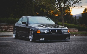 Картинка E36, БМВ, BMW, oldschool, 3 series, Дорога, Stance