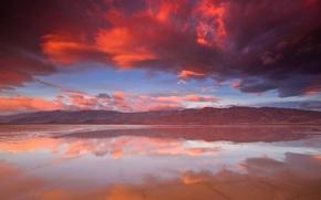 Картинка облака, закат, горы, озеро, отражение