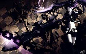 Картинка девушка, оружие, аниме, арт, цепи, black rock shooter, стрелок с черной скалы, мато курои, insane …