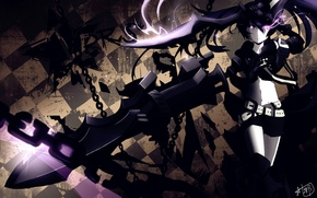 Обои арт, аниме, black rock shooter, insane black rock shooter