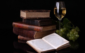 Обои книги, отражение, виноград, пища для ума, бокал, вино