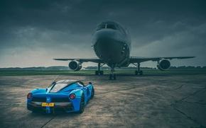Обои ferrari, laferrari, blue, supercar, plane, rear, runway