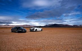 Картинка белый, небо, чёрный, пустыня, вечер, R8 Spyder, AUDI R8