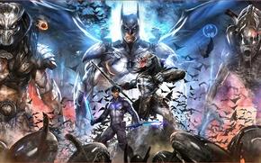 Картинка batman, alien, predator, crossover, nightwing, xenomorph