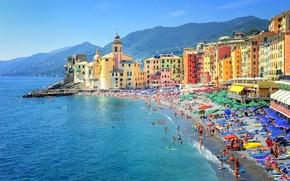 Обои Camogli, Genoa, море, пляж, побережье, дома, горы, Италия, солнечно