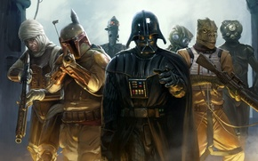Картинка Star Wars, Звездные войны, Darth Vader, Дарт Вейдер, Boba Fett, Боба Фетт