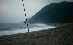 Картинка море, рыбалка, удочки