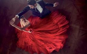Обои красный, пара, red, Eva Green, танец, Ева Грин, платье