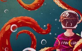 Картинка стекло, девушка, отражение, арт, осьминог, щупальца, шлем