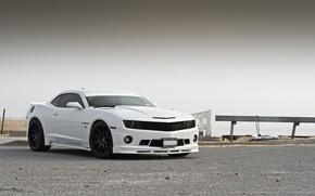 Картинка белый, тюнинг, Chevrolet, Camaro, white, шевроле, мускул кар, передняя часть, камаро, Stillen