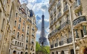 Картинка Франция, Париж, здания, дома, ворота, Эйфелева башня, Paris, архитектура, France, Eiffel Tower, La tour Eiffel, …