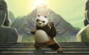 Обои мультфильм, ступеньки, панда кунг-фу 2