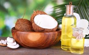Обои миска, дольки, кокос, кокосовое масло
