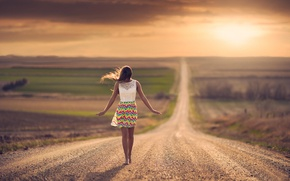 Картинка дорога, девушка, простор, боке