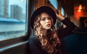 Картинка девушка, окно, вагон, шляпка, локоны, Георгий Чернядьев, Traveler