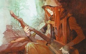 Картинка дерево, струны, демон, рыжий, капюшон, музыкант, ушки, музыкальный инструмент, visual novel, Lamento, Shui, Kazuaki