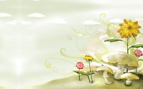 Картинка лето, грибы, арт, домики, детская. полянка