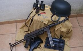 Обои каска, мировой, Второй, пистолет-пулемёт, времён, MP 40, форма, бинокль, войны