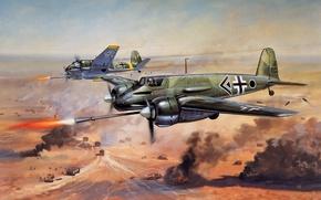 Картинка авиация, самолет, война, штурмовик, немецкий, Henschel Hs.129 B3 (Büchsenöffner) Schusswaffenanlage 75 mm, Henschel Hs129