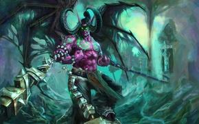 Картинка крылья, демон, ярость, рога, WoW, Stormrage, цепи, World of warcraft, illidan