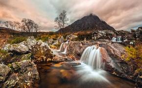 Картинка облака, камни, гора, поток, Шотландия, Buachaille Etive Mòr, Северо-Шотландское нагорье