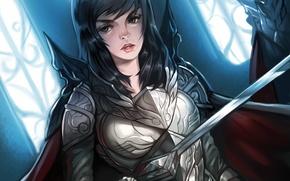 Картинка девушка, оружие, меч, арт, доспех