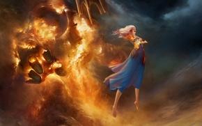 Картинка облака, пламя, магия, Девушка, левитация, элементаль