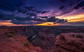 Картинка облака, пейзаж, закат, скалы, Колорадо, Аризона, США, Arizona, Гранд Каньон, Colorado, Horseshoe bend
