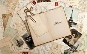 Обои vintage, марки, ретро, винтаж, фотографии, сепия, блокнот
