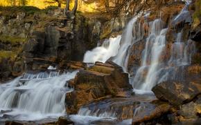 Картинка осень, лес, деревья, река, камни, скалы, водопад, поток