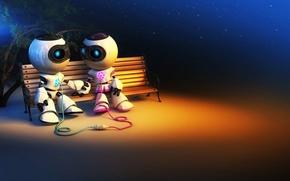 Обои любовь, скамейка, роботы, пара