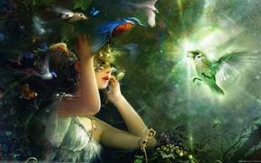 Картинка девушка, свет, Птицы, маска, бриллиант, Bing Xiao