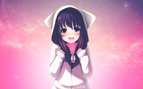 Картинка аниме, девочка, уши, кофта, фиолетовые волосы