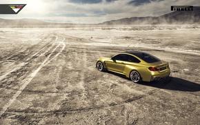 Картинка BMW, Car, Vorsteiner, Yellow, Pirelli, Wheels, Desert, Rear, 2015, Skid, GTRS4