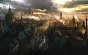 Картинка небо, город, улица, дым, революция, восстание