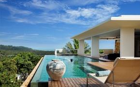 Картинка пальмы, настроение, отдых, вилла, бассейн, relax