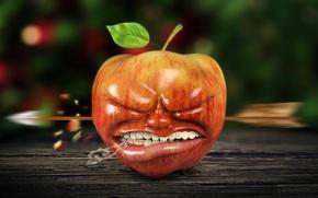 Картинка рендеринг, яблоко, ситуация, стрела