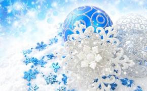 Картинка снежинки, шары, узоры, игрушки, блеск, Новый Год, Рождество, декорации, Christmas, синие, New Year, серебристые, елочные, …