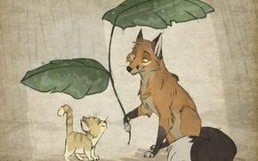 Картинка листья, котенок, дождь, лиса, by Vao-Ra
