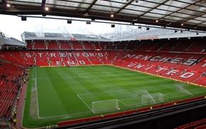 Обои стадион, Football, Old Trafford, готовят, поливают