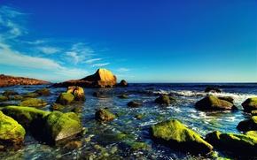 Картинка море, небо, вода, синий, камни