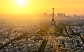 Обои Эйфелива Башня, Франция, Париж, Небоскрёбы, Пейзаж, Вид, Город, Высота