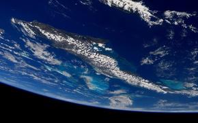 Картинка космос, облака, планета, Земля, океаны