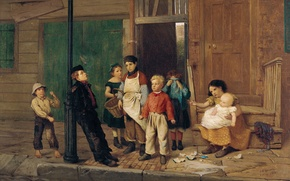 Обои дети, улица, картина, жанровая, Джон Джордж Браун, Соседский Хулиган