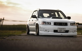 Картинка tuning, japan, low, face, white, sti, forester, front, subaru, turbo, stance, jdm