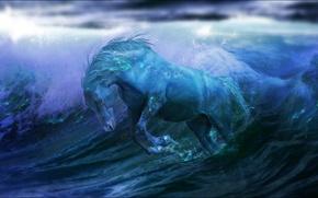 Картинка волны, вода, фантастика, океан, лошадь, fantasy, ocean, water, horse