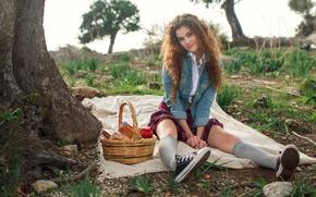 Картинка девушка, природа, модель, пикник, Adel C